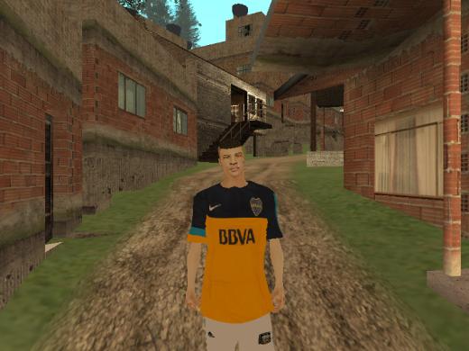 Camiseta de boca con la villa atras :D